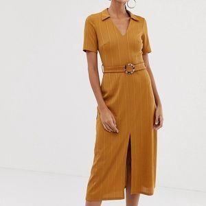 🌵NWT🌵ASOS Burnt Yellow Split-Leg Midi Dress